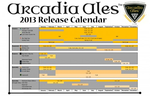 Arcadia Ales – 2013 Beer Availability Calendar