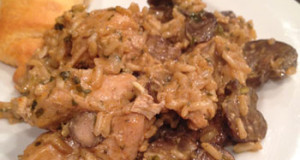 Chicken, Rice and Mushroom Casserole Made With Chardonnay